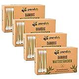 pandoo 4er Pack Bambus Wattestäbchen (800 Stück) | 100% biologisch abbaubar, vegan & nachhaltig | kompostierbare premium Wattestäbchen