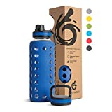 hydro2go® Trinkflasche aus Glas mit Silikonhülle 950...