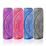 Redmoo Abschminktücher Mikrofaser zum Abschminken (4 Stück), Abschminkhandschuh Microfaser Make Up Entferner Tuch Waschbar und wiederverwendbar Gesichtsreinigungstücher