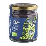 Bio Wilde Blaubeeren-Pulver (Heidelbeere): 100 g, Sehr Reich an Antioxidantien, nur aus Beerenschalen und Samen, Ohne Zusatzstoffe, Vorrat für 20 Tage, in Nordischen Wäldern Gesammelt, Superfood