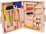 small foot 2079 Werkzeugkoffer Lino aus Holz, mit 12 Spielwerkzeugen von Hammer bis zur Bohrmaschine, ab 3 Jahren