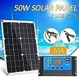 Lixada 50W DC 5V / 18V Dual Output Solarpanel mit 2...